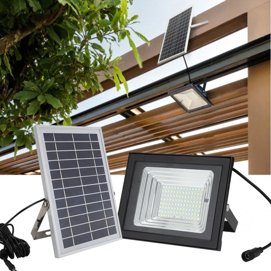 100W LED Solar Powered Wall Light IP65 Waterproof Floodlight With Remote Control Dimmable For Garden Light Energy Saving
