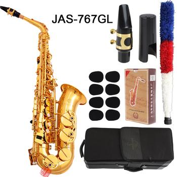 Jupiter JAS-767GL altowy Eb dostroić saksofon New Arrival mosiądz złoty lakier instrument muzyczny E-płaskim Sax z przypadku akcesoria tanie i dobre opinie MARGEWATE Falling Tune E (F) Bakelite Brass Gold Lacquer