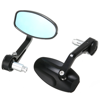 Hot 1 Pair 17-19mm Universal CNC Motorcycle Bar End Black Rearview Side Mirrors For Triumph Speed Triple Motocross Accessories