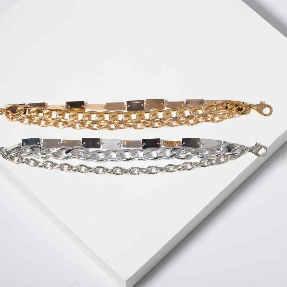 SHIXIN Punk 3 warstwowa bransoletka urok dla kobiet złoty/srebrny masywny łańcuch bransoletki kobieta moda plac biżuteria ręczna 2019 Femme
