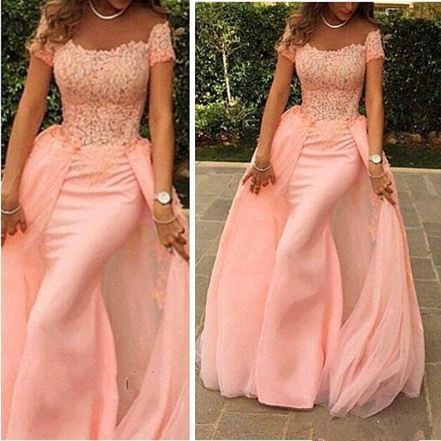 New Listing Scoop Neck Pink Off The Shoulder Prom Gown Short Sleeve Mermaid Long 2018 Lace Vestido De Noiva Bridesmaid Dresses