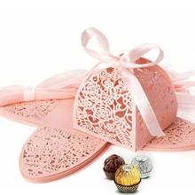 25pcs/set Rose Flower Laser Cut Hollow Favors Gifts Candy Boxes With Ribbon Baby Shower Wedding Party Supplies(China)