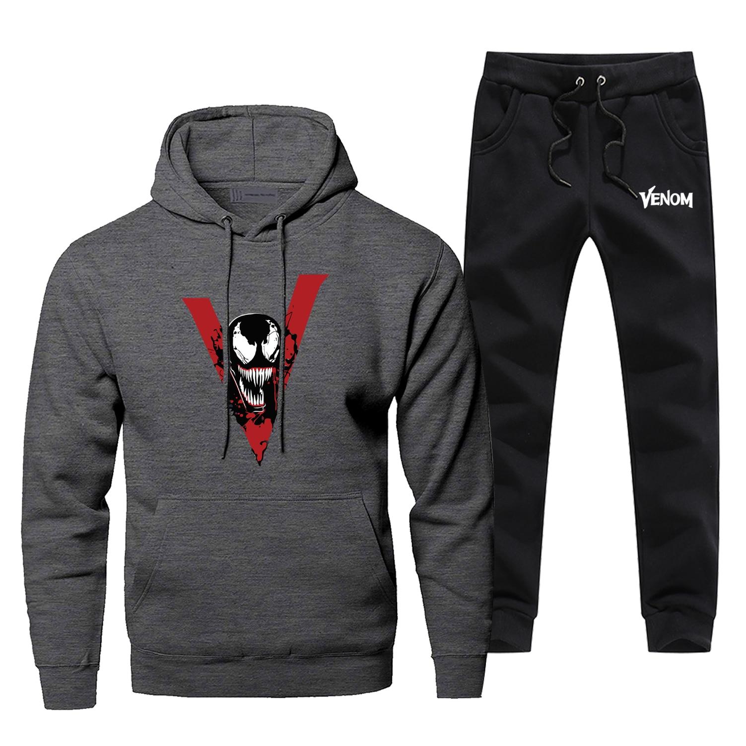 Venom Hoodie Pants Set Marvel Super Hero Men Sweatshirt Male Hoodies Sweatshirts Mens Sets Two Piece Pant Pullover Hoody Coat