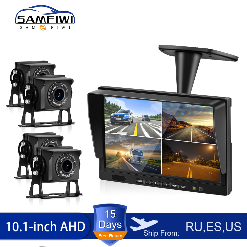 10.1 Inch AHD 4ch Recorder DVR Car Monitor Vehicle Truck Night Vision Rear View Camera Security Surveillance Split Screen Quad