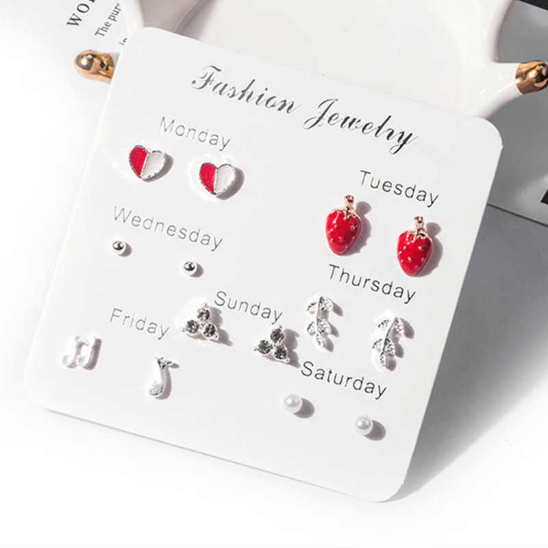 Moda brincos conjunto para as mulheres coração coração estrela floco de neve flor pérola cristal uma semana minimalista brincos setgift