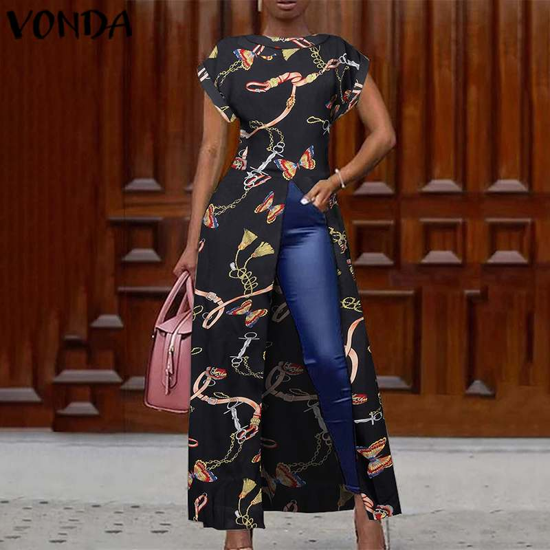VONDA Split Hem Blouse Women Split Tunic Vintage Printed Long Shirts 2020 Summer Dress Female Casual Party Tops Plus Size Blusas