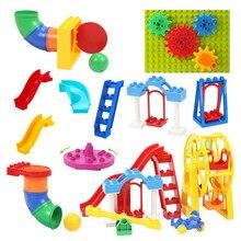 Grandes blocos de construção montar acessórios crianças brinquedos compatíveis com brickss parque de diversões playground criatividade diy conjunto presente