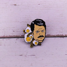 Ron Swanson pancetta uova risvolto pin Parks and Recreation spilla(China)