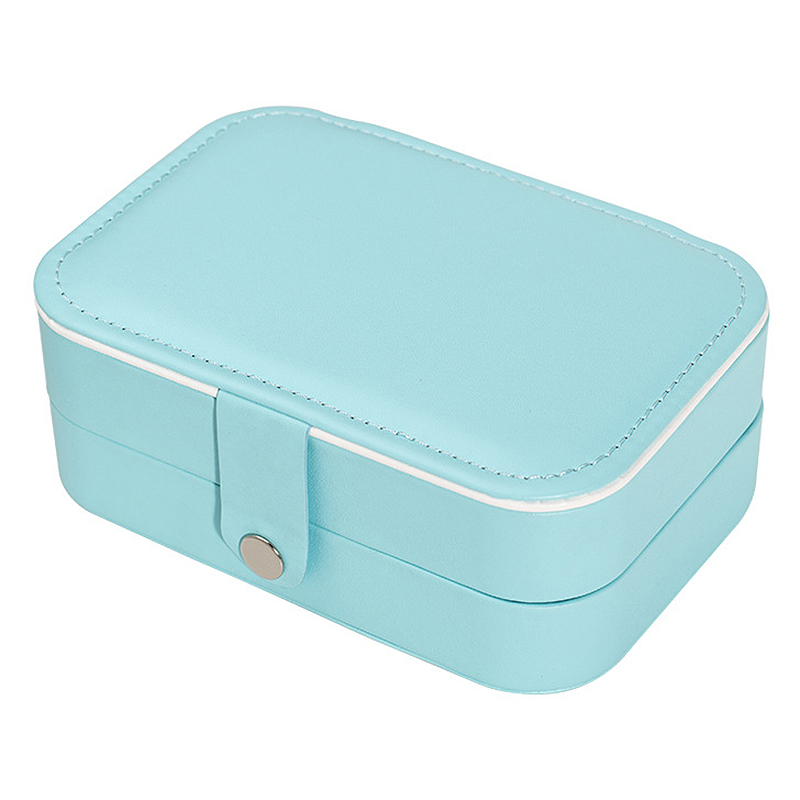 Double Layer Portable Travel Jewelry Box PU Leather Display Organizer Storage Case For Earrings Necklace Rings Box