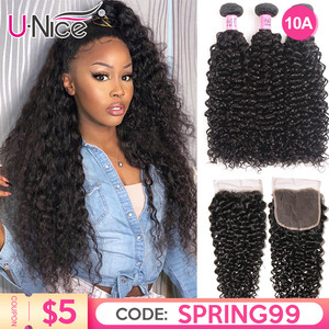 UNice Hair Curly Weave Human Hair With Closure 4/5PCS Brazilian Remy Hair Weave Bundles with Closure Lace Hair Diy Wigs By You(China)