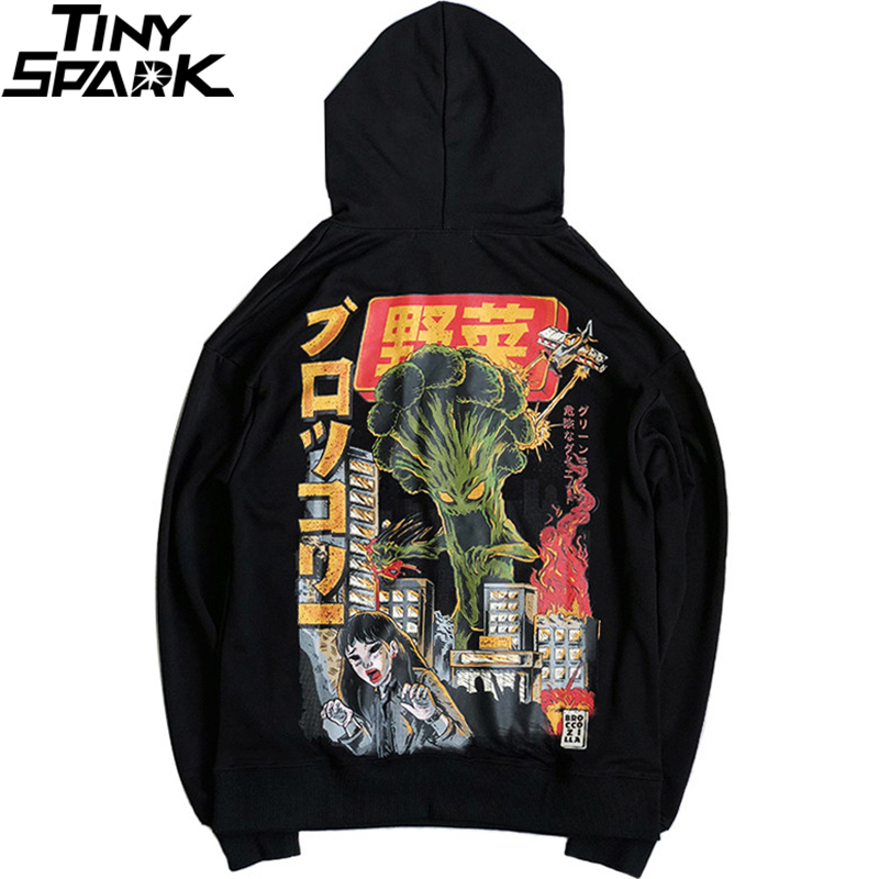 2019 Men Hip Hop Hoodie Sweatshirt Monster Attack Japanese Harajuku Hoodie Streetwear Funny Autumn Cotton Hooded Pullover Black