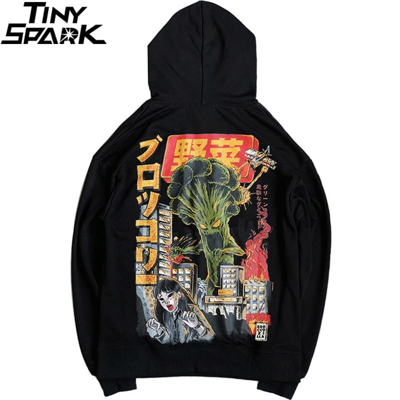 2019 Men Hip Hop Hoodie Sweatshirt Monster Attack Japanese Harajuku Hoodie Streetwear Funny Autumn Cotton Hooded Pullover Black