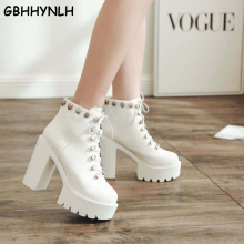 GBHHYNLH women black boots leather Platform punk Boots Autumn High Heels Shoes Lace Up Ankle Boots White Rubber boots LJA821 цены онлайн