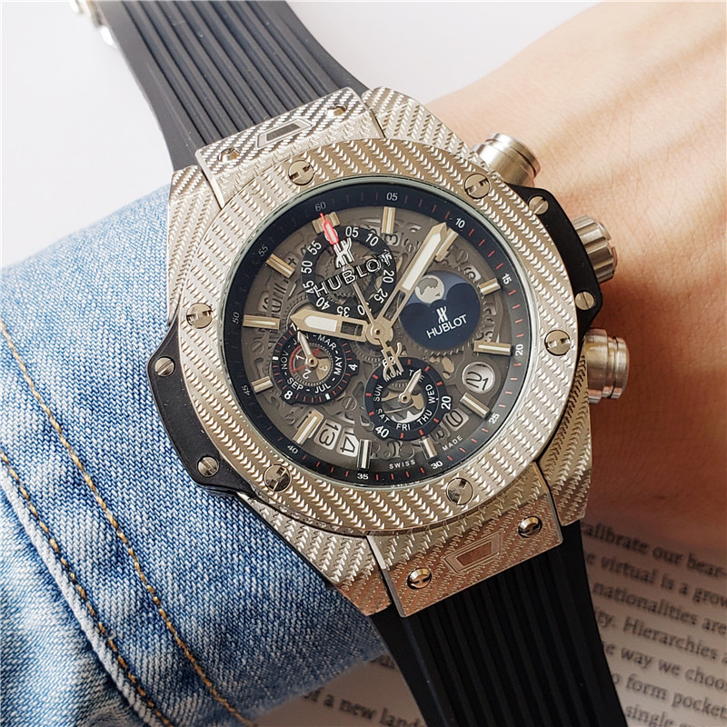 HUBLOT Luxury Brand Quartz Mens Watches Quartz Watch Stainless Steel Strap  Men's Wristwatch Classic Business Dress Men's Watch