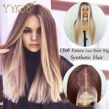 YYsoo Long Silky Straight Blonde Baylayage13x6 Futura Synthetic Lace Front Wigs For Women Natural Hair Blonde Highlight Lace Wig