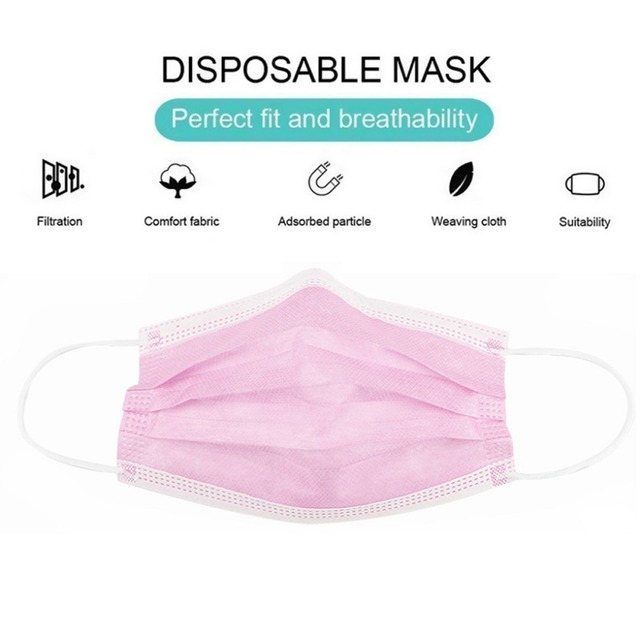 Face Masks 3 Layer Elastic Mouth Mask Anti-Flu Kids Disposable Mask Soft Breathable PM2.5 Nonwoven Pink Blue White Black 1