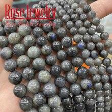 AAAAA-Cuentas de gemas de labradorita negra Natural, cuentas sueltas redondas de 6, 8 y 10mm para fabricación de joyas, accesorios de pulsera, hilo de 15