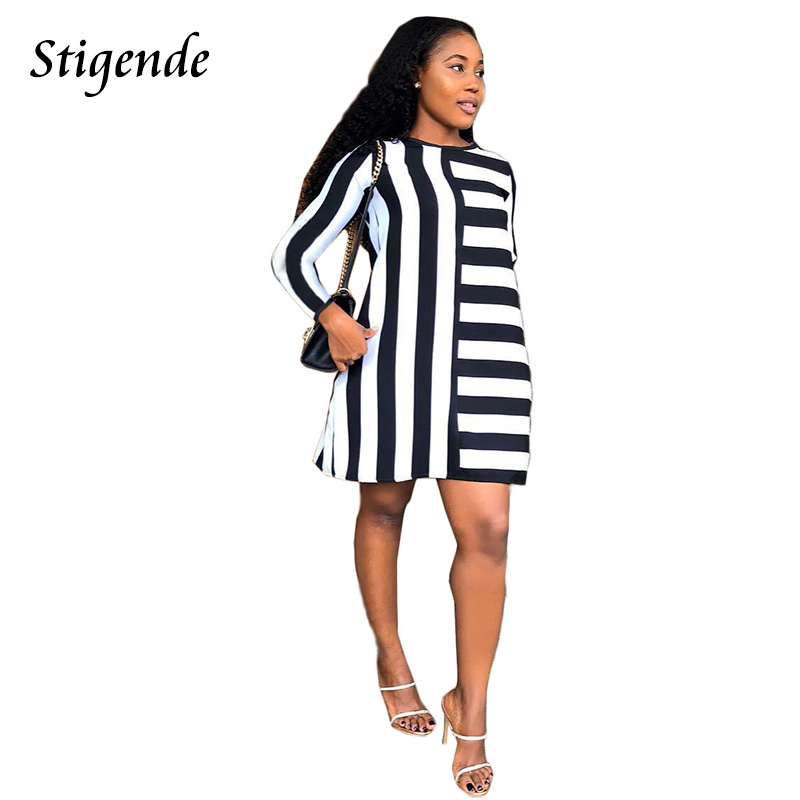 Stigende Fashion Black And White Striped A Line Dress Women Casual Long Sleeve O Neck Short Dress Sexy Elegant Mini Party Dress