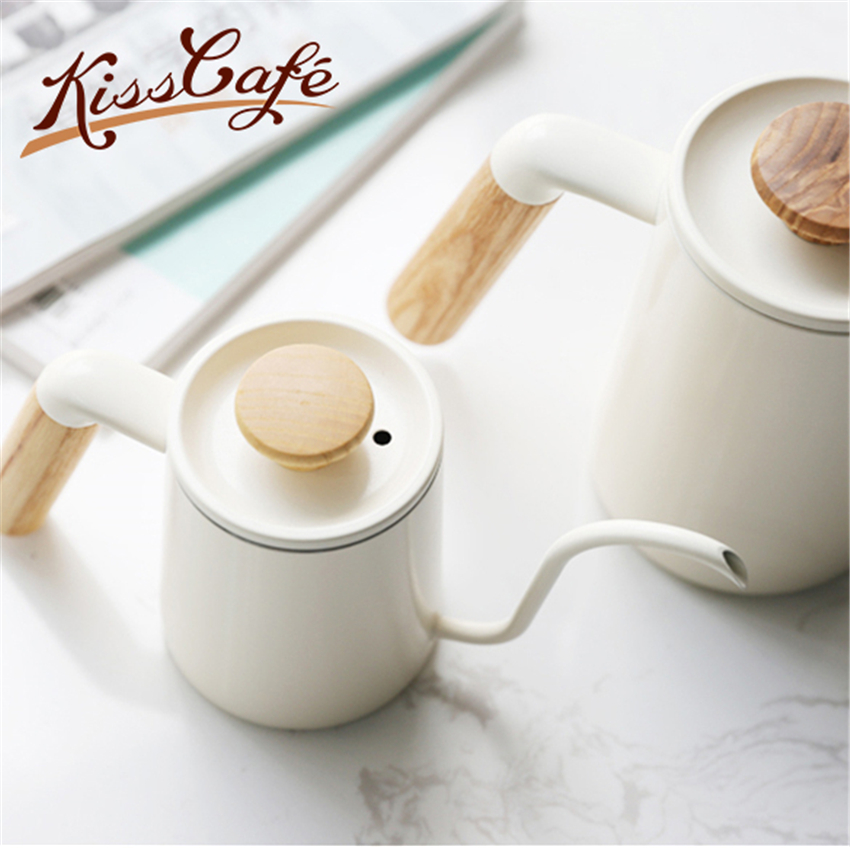 300/600ml Stainless Steel Handle Drip <font><b>Coffee</b></font> Pot with Lid Dripping Goose Neck Spout Long Mouth <font><b>Coffee</b></font> Pot Teapot image