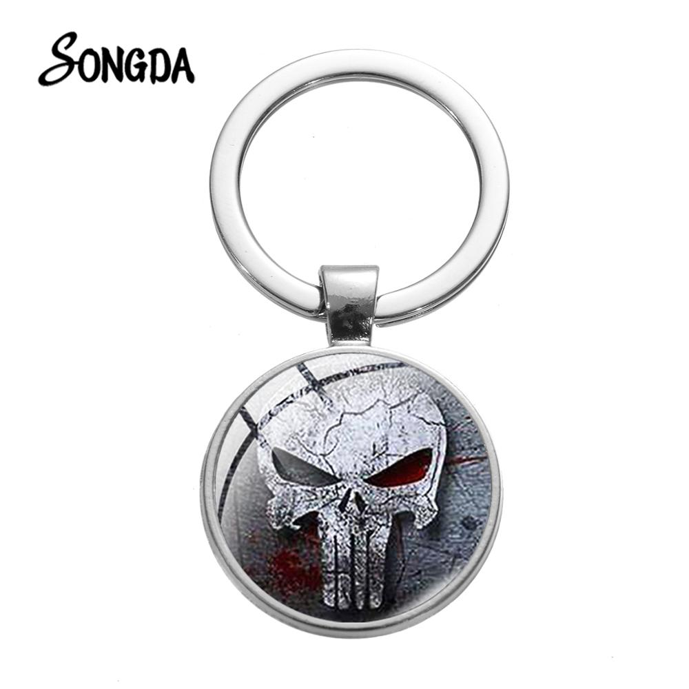 SONGDA Gothic Skull Logo Image Glass Keychain Movie The Punisher Poster Glass Cabochon Bag Key Ring Handmade Souvenir For Friend