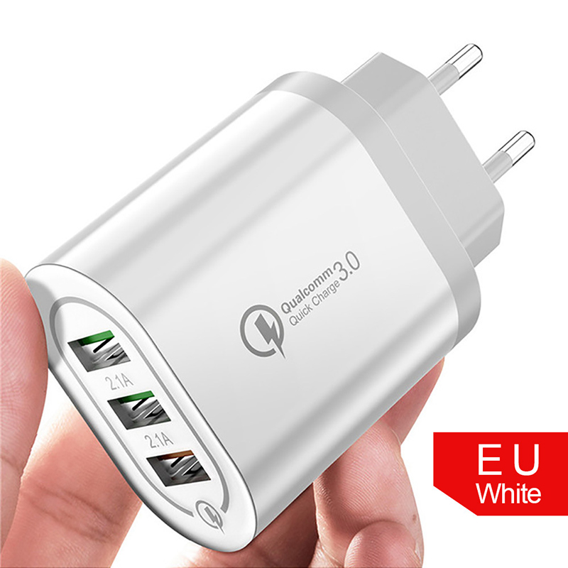 3 Port 2.4A <font><b>USB</b></font> QC3.0 Mobile Phone <font><b>Charger</b></font> <font><b>5V</b></font>/9V/12V Fast <font><b>Charger</b></font> Travel <font><b>Wall</b></font> <font><b>USB</b></font> Mobile Phone <font><b>Charger</b></font> With EU/US Plug Adapter image