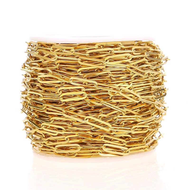 1 متر بالارض القطع الناقص 4 مللي متر العرض الفولاذ المقاوم للصدأ الذهب لهجة دائرة رولو ربط سلسلة لتقوم بها بنفسك قلادة النساء الموضة صنع