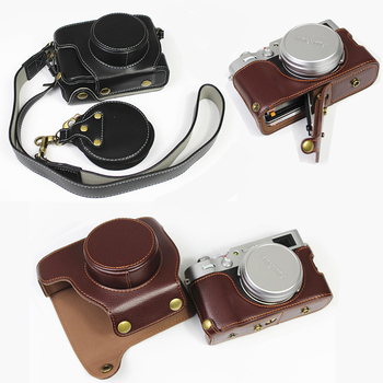 Genuine Cowhide Leather Case Camera bag For Fuji X100F Fujifilm X100V Body cover shell + strap Battery Opening high quality