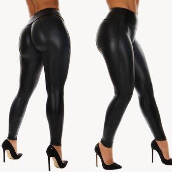 Goocheer 2020 Newest Black PU Legging Shiny Bling Faux Patent Leather Stretch Elastic Leggings High Waist Pants Slim Trousers contrast faux leather elastic waist leggings