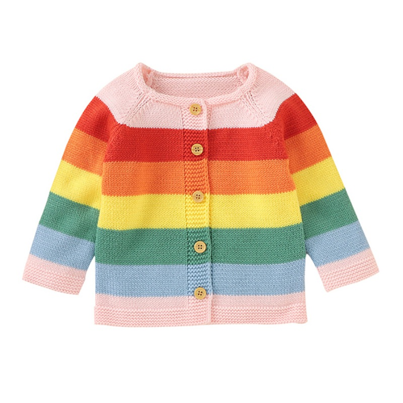 Children Kids Sweater Autumn Baby Girl Cardigan Striped Print Knitted Casual Outerwear Clothes