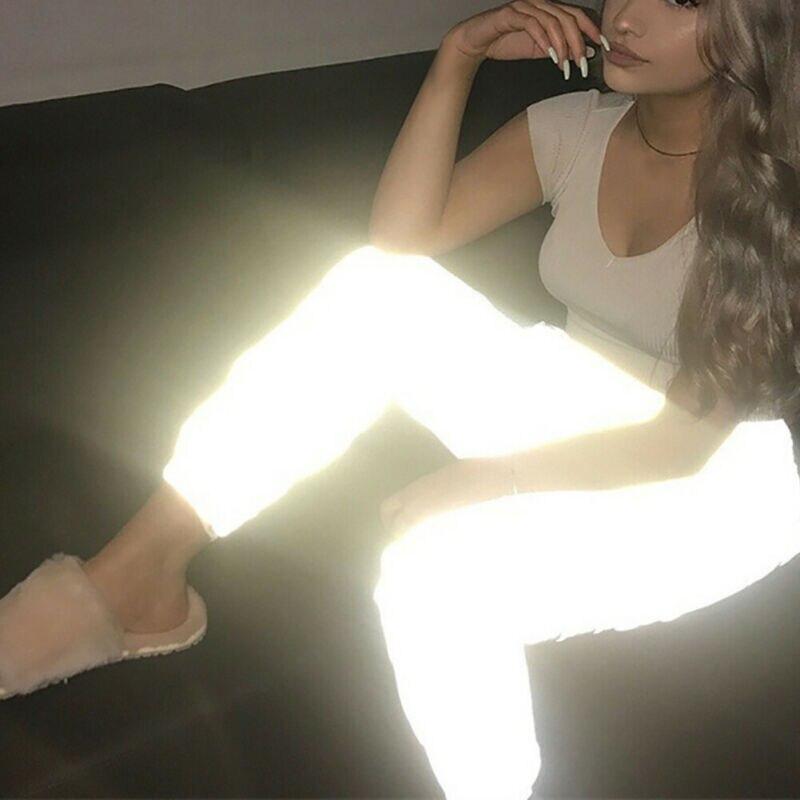 Women Reflective Streetwear Trousers Flash Pants Hip-Hop Jogging Clubwear  2019 Autumn Fashion