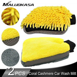 Double-sided Coral Cashmere Car Wash Glove Cleaning Mitt Short Wool Mitt Car Washing Brush Glove Soft Anti-scratch for Car Wax