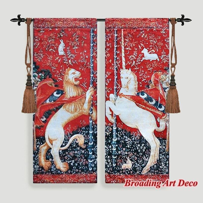 Настенный гобелен в средневековом стиле с изображением единорога и Льва, размеры 98x76 см