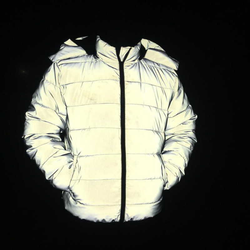 Winter Coat Men/Women Reflective Light Jacket Windproof Stand Cotton Padded Warm Thick Hooded Zipper Female Top Coats Hip Hop
