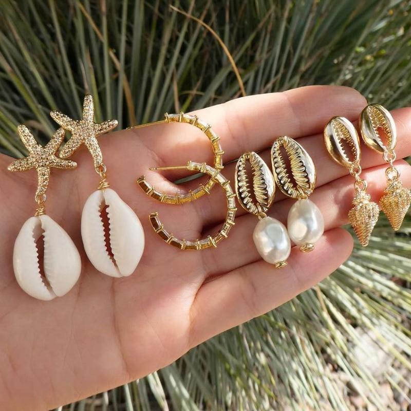 Tocona 4pair/1set Boho Gold Beach Shell Starfish Conch Pearl Drop Dangle Earrings for Women Beach Piercing Earring Gift F02101