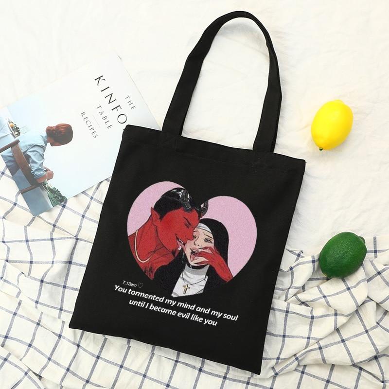 Новые женские холщовые сумки в стиле хип хоп с высокой вместимостью и надписью «Demon» в стиле Харадзюку, новые сумки через плечо Ulzzang        АлиЭкспресс