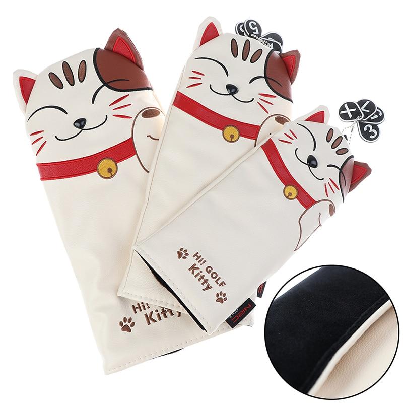 Cartoon Animal Cat Lucky Kitty Golf Club Head Covers Headcover Driver Fairway Wood Hybrid Covers Set