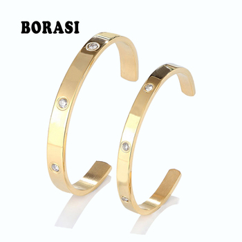 Fashion Classic Crystal Cuff Bracelet for Women/Men Gold Color Stainless Steel Bracelets & Bangles Couple Love Jewelry Best Gift