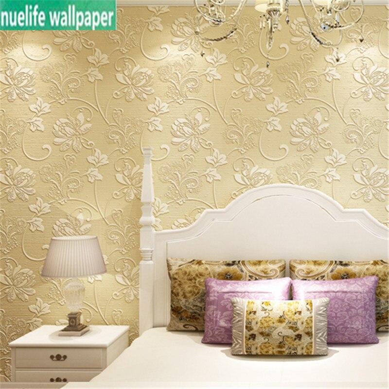 Modèle de fleur de luxe doré chambre européenne papier peint intissé 3d salon fond TV papier peint relief jardin papier peint