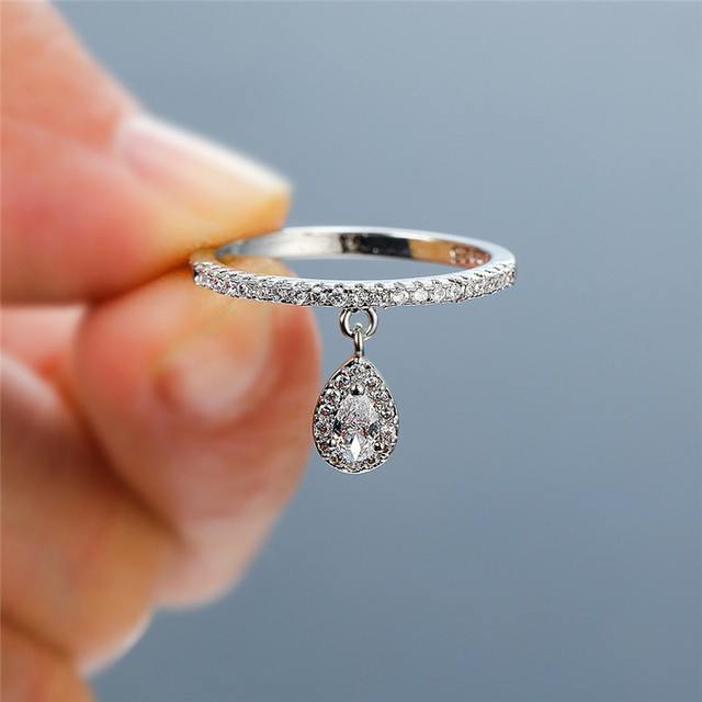 Female Luxury Water Drop Pendant White Zircon Rings For Women Yellow Gold/White Gold/Rose Gold Filled Crystal Ring Boho Jewelry 1