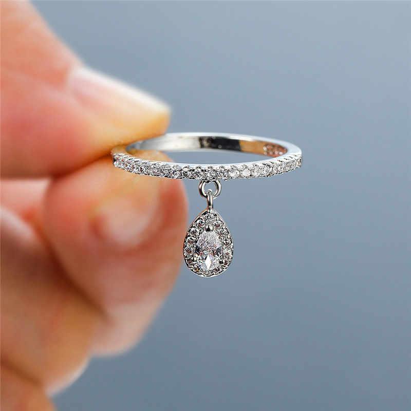 Weibliche Luxus Wasser Tropfen Anhänger Weiß Zirkon Ringe Für Frauen Gelb Gold/Weiß Gold/Rose Gold Gefüllt Kristall ring Boho Schmuck
