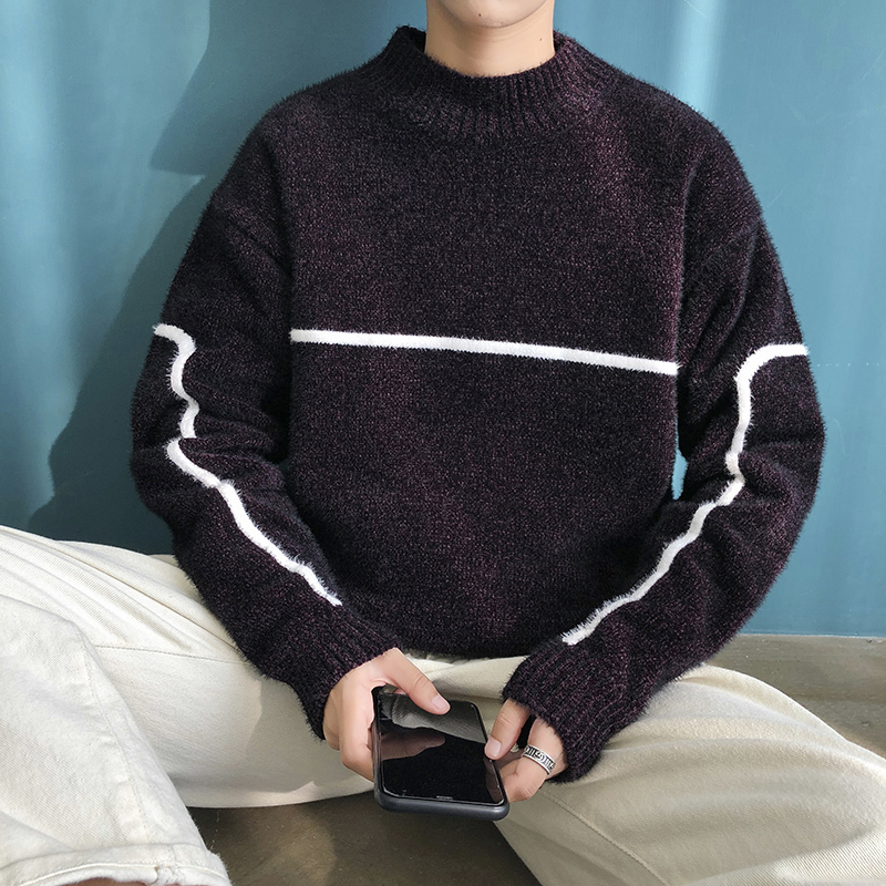 Men's Sweaters Autumn/winter 2019 New Slim Black And White Print Long-sleeve Sweaters Loose Casual Fashion Young Men's Wear