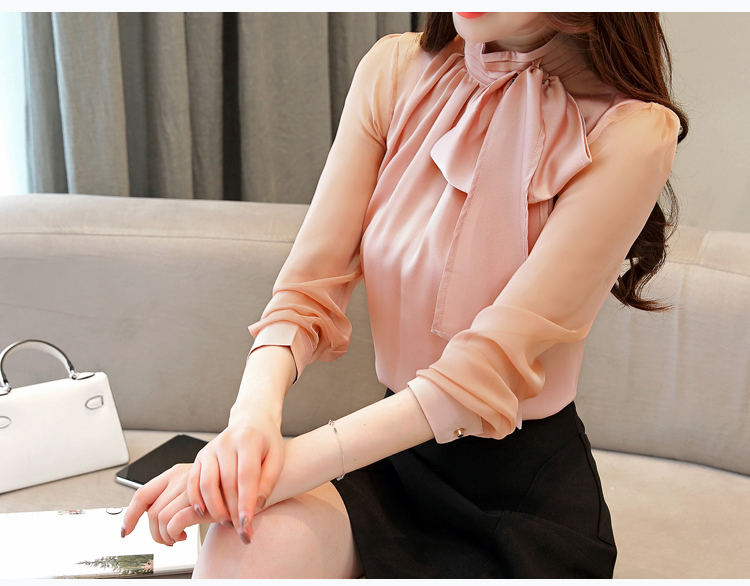 Long Sleeve Tie Bow Chiffon Turtleneck Blouse Shirt 8
