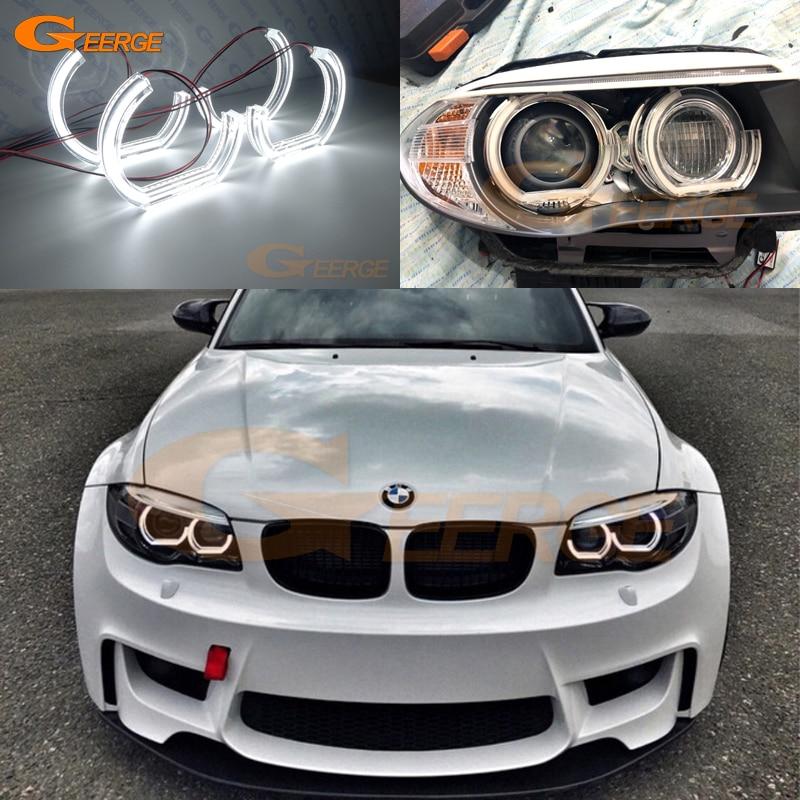 For BMW 1 Series E82 E88 E87 E81 2006-2013 Xenon Headlight Excellent Day Light Ultra Bright DTM M4 Style Led Angel Eyes Kit DRL