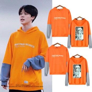 New Fashon Hot Jimin Kpop Cothes Men/women Long Sleeve Fake Two Piece Hoodie Sweatshirts Female Hip Hop Streetwear Orange Hoody