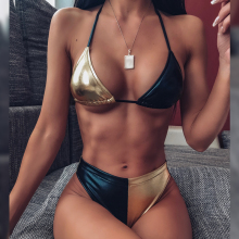 Куркума сексуальный Холтер Бикини бразильский женский купальник пуш-ап с высоким вырезом женский купальник бикини треугольный купальный костюм