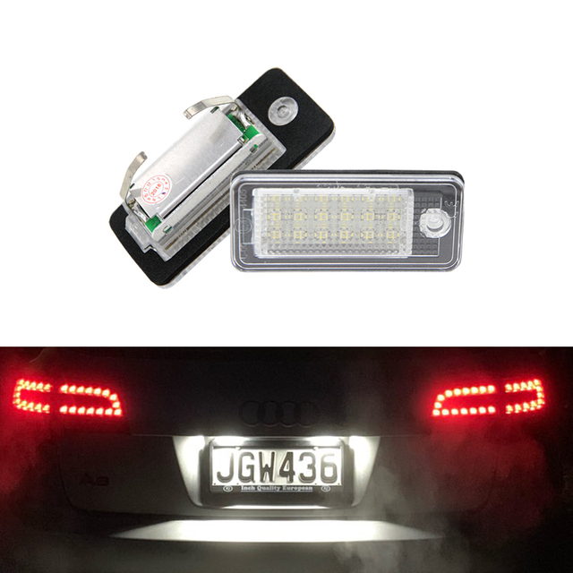For Audi A3 8P A4 S4 B6 B7 A6 4F A8 8E 4H Q7 Led License Number Plate Lights Lamp Canbus Auto Tail Lights