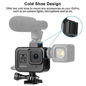 Image 3 - Cnc Aluminium Case Voor Gopro Hero 8 Zwart Metalen Frame Kooi + Screen Protector + Lens Gehard Glas Voor Go pro 8 Accessoires