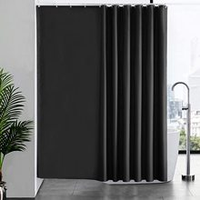 Shower Curtain Rings Bathroom Waterproof Black Thick Polyester