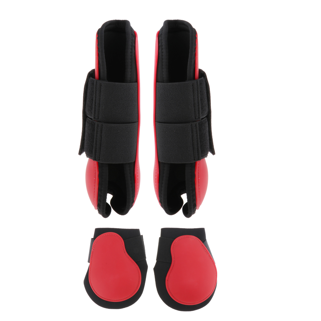 2 Pairs PU Horse Leg Boots Equine Horse Front & Hind Leg Guard Equestrian Tendon Protection Neoprene Horse Hock Brace