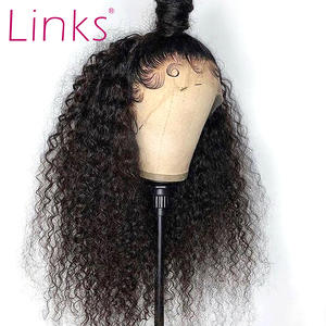 Links Wigs Short Human-Hair Curly-Bob Deep-Wave Lace-Front Pre-Plucked Natural-Color